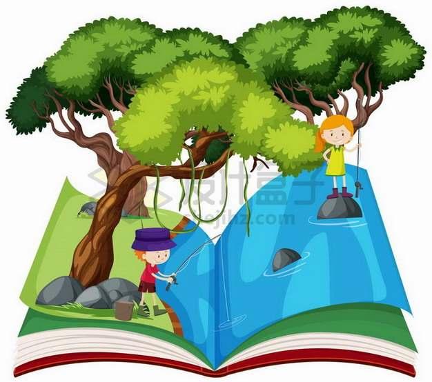 打开书本上在大树底下钓鱼的卡通小朋友846381png矢量图片素材