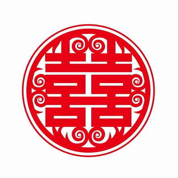 红双喜红色剪纸262432png矢量图片素材