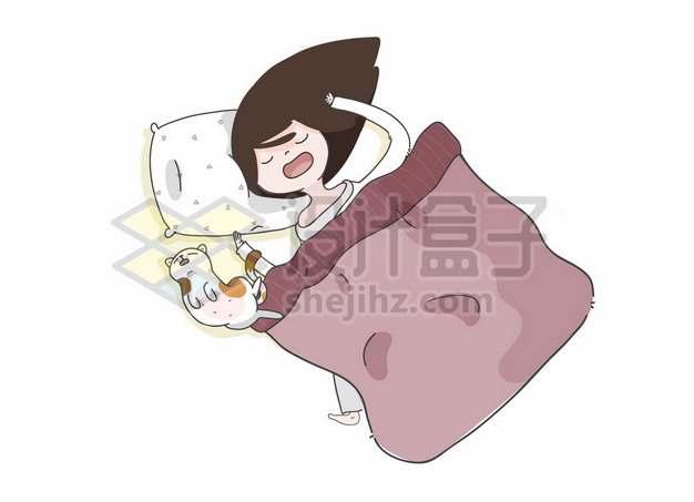 卡通女孩和猫咪在睡觉手绘插画722178png矢量图片素材