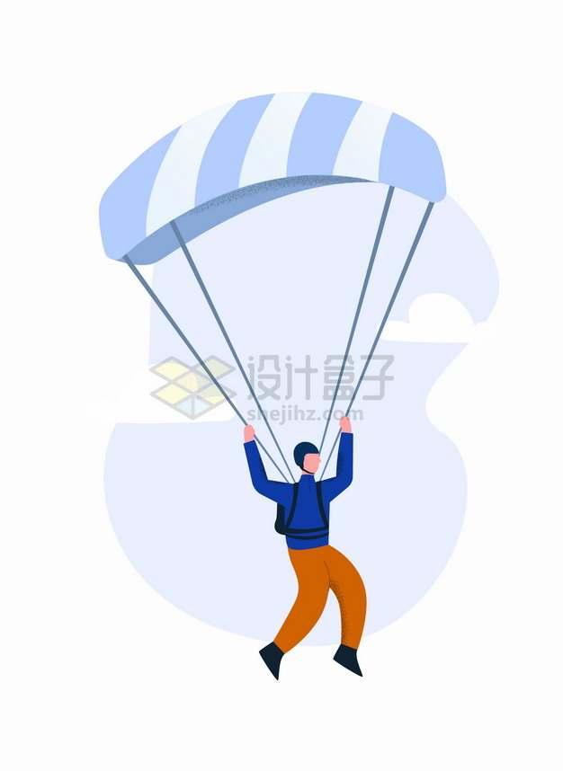打开降落伞跳伞的极限运动员4592487png图片素材