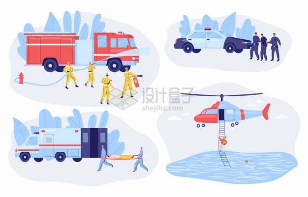消防车救火警车抓捕罪犯救护车拯救伤员救援直升机等png图片素材