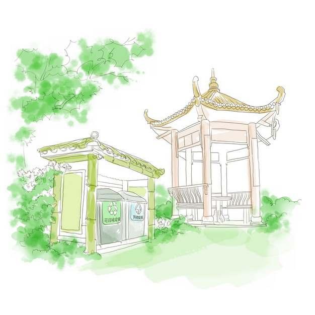 凉亭和垃圾站水彩插画859532png免抠图片素材