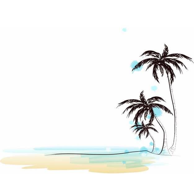 海边沙滩上的椰子树风景彩绘插画143665png图片素材