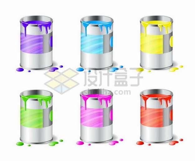 6种颜色的油漆桶585206png矢量图片素材