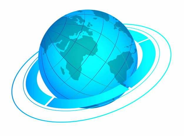 蓝色的地球和科技风格线条环绕273588png图片素材