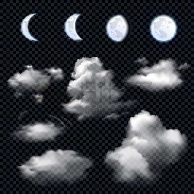 不同月相的月亮和夜空中的云朵白云216896png矢量图片素材