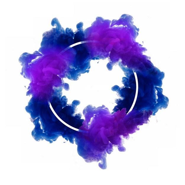 抽象蓝紫色烟雾环绕的圆形边框文本框信息框标题框167545png图片免抠素材 边框纹理-第1张
