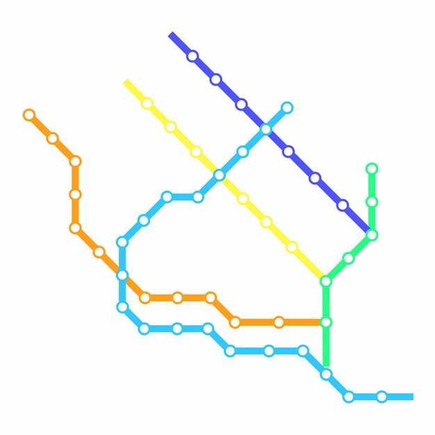 彩色线条开封地铁线路规划矢量图片606887