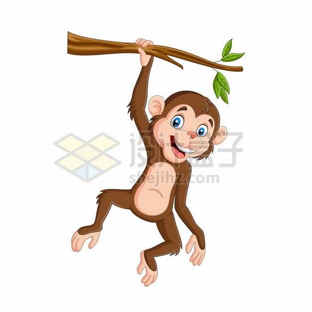 吊在树枝上的卡通小猴子捞月亮427063png矢量图片素材