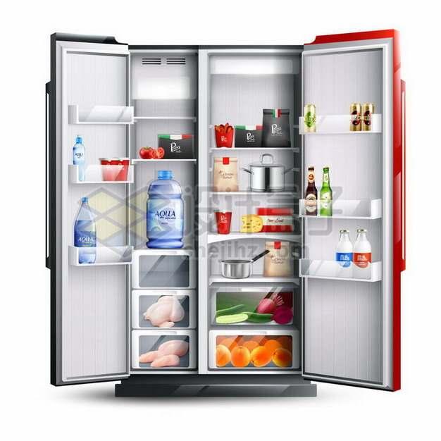 打开的双门冰箱和里面丰富的食材766247png矢量图片素材