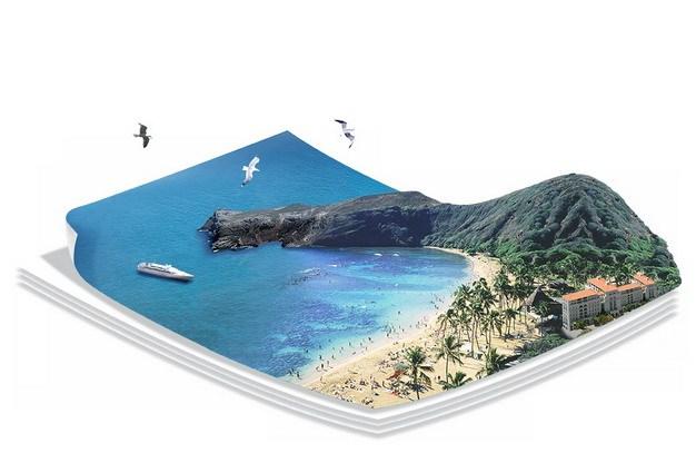 3D立体风格海边浴场海滩沙滩和蔚蓝色大海旅游风景区421719png图片素材 生物自然-第1张