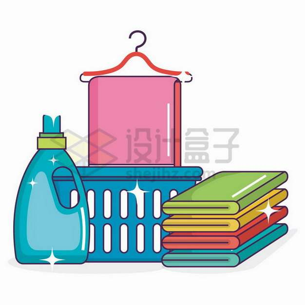 清洗干净的卡通毛巾和洗涤剂873631png矢量图片素材