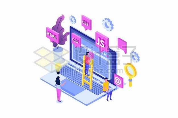 2.5D风格笔记本电脑和html/css/js等网页编程语言558405png矢量图片素材