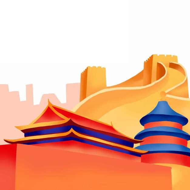 万里长城天安门天坛等国庆节建筑图案344345png免抠图片素材