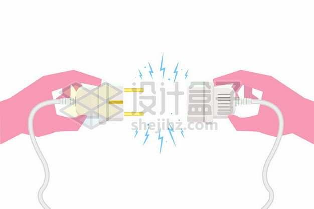 双手拿着闪着电火花的电线插头103916png矢量图片素材