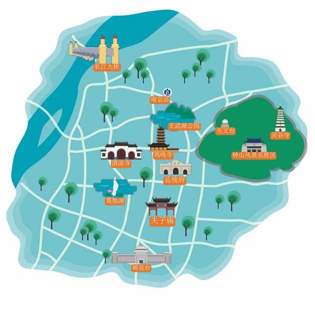 卡通风格南京旅游地图448160png图片素材
