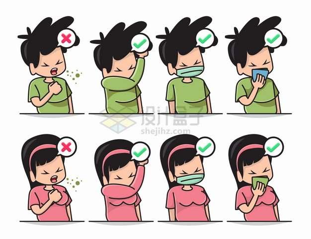 咳嗽的正确和错误处理方式png图片素材