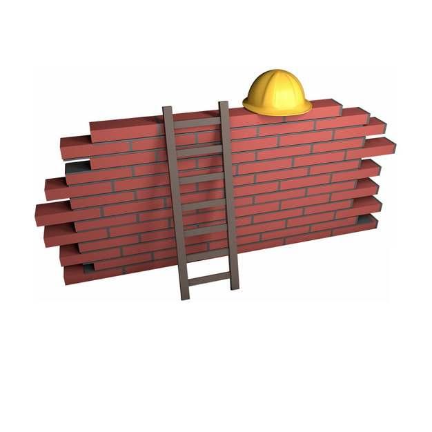 3D风格砖墙上的梯子和安全帽993061png图片免抠素材