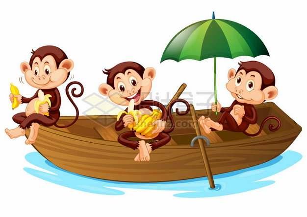 三只卡通猴子吃香蕉坐小船278155png矢量图片素材