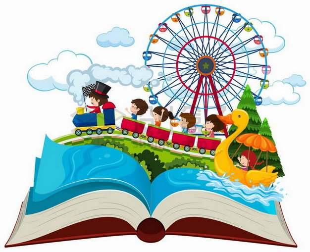 打开书本上的儿童游乐园游乐场设施815953png矢量图片素材