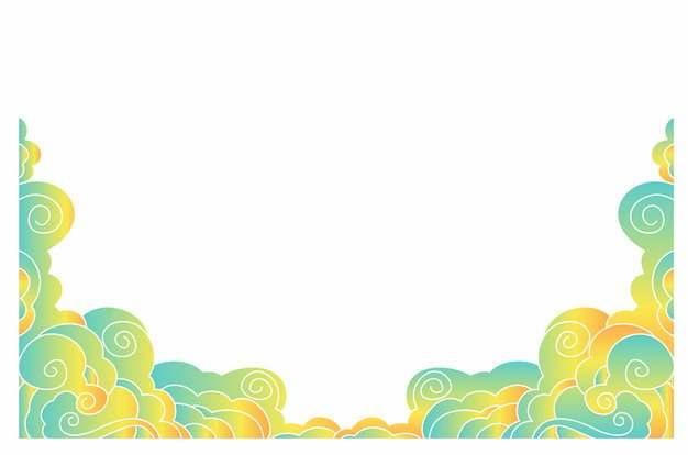 传统中国风绿色祥云装饰图案715282png矢量图片素材