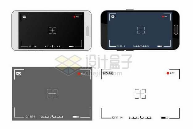4款手机相机拍摄界面边框971002png矢量图片素材