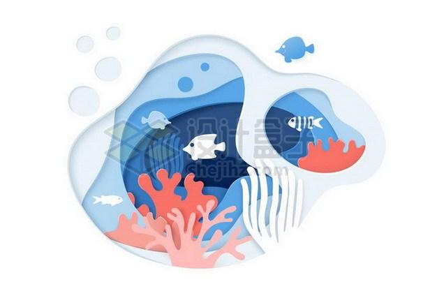 剪纸叠加风格珊瑚礁和鱼群151265png矢量图片素材 生物自然-第1张