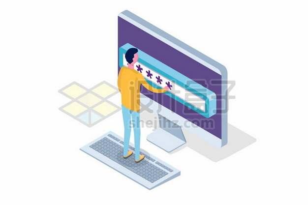 2.5D风格年轻人和电脑上的密码880291png矢量图片素材
