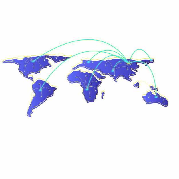 蓝色世界地图和科技风格发光线条573286png图片素材
