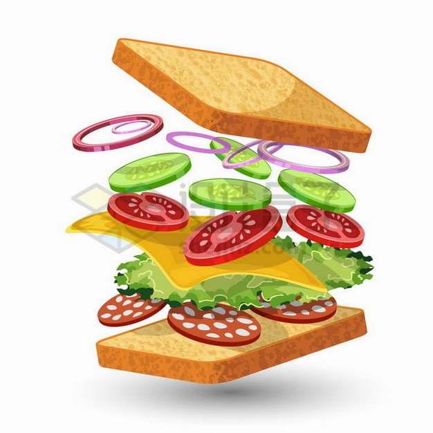 分离状态的蔬菜三明治466050png矢量图片素材
