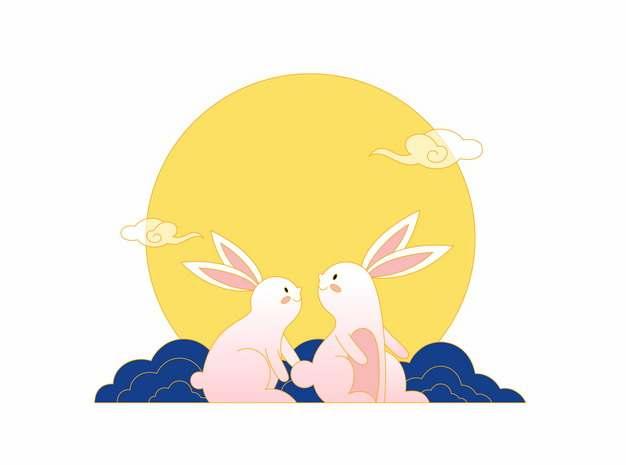中秋节大大的黄色月亮下的两只玉兔927734png矢量图片素材