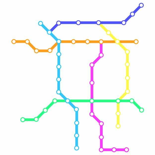 彩色线条保定地铁线路规划矢量图片177191