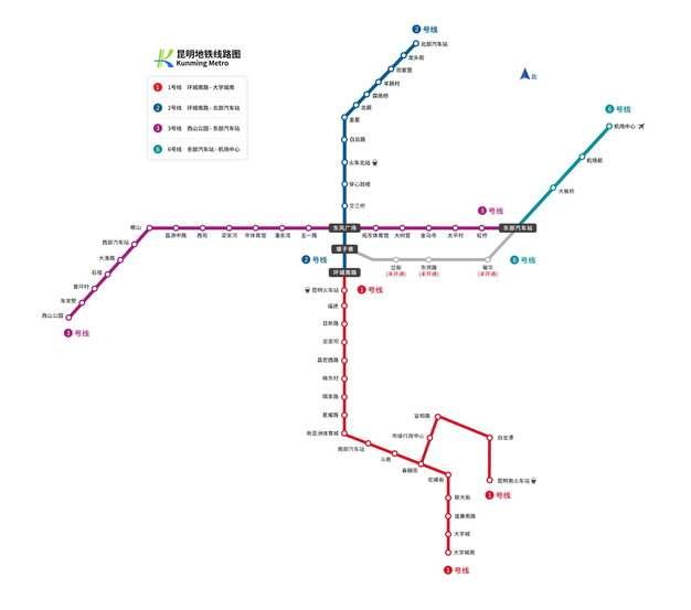 昆明地铁线路图图片素材