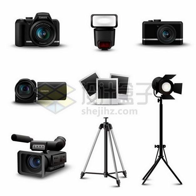 逼真的数码单反相机和家用摄像机专业高清数码摄录一体机等拍摄工具837691png矢量图片素材 IT科技-第1张