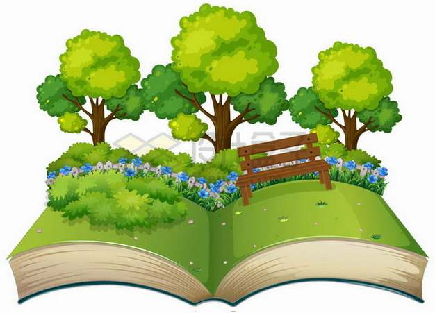 打开书本上的草地和树林255171png矢量图片素材