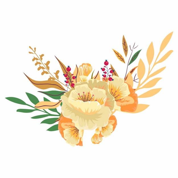 美丽的花朵叶子手绘插画988894png矢量图片素材 生物自然-第1张