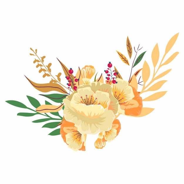 美丽的花朵叶子手绘插画988894png矢量图片素材