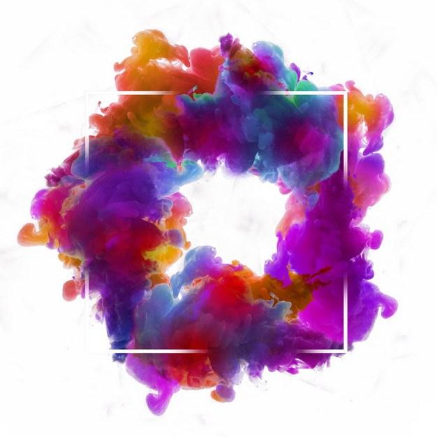 抽象紫色彩色烟雾环绕的方形边框文本框信息框标题框280997png图片免抠素材 边框纹理-第1张