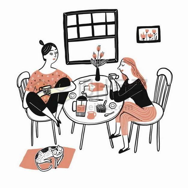好闺蜜一起喝茶聊天手绘插画908396png矢量图片素材