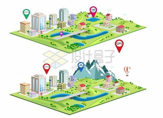 2款2.5D风格卡通城市沙盘403510png矢量图片素材