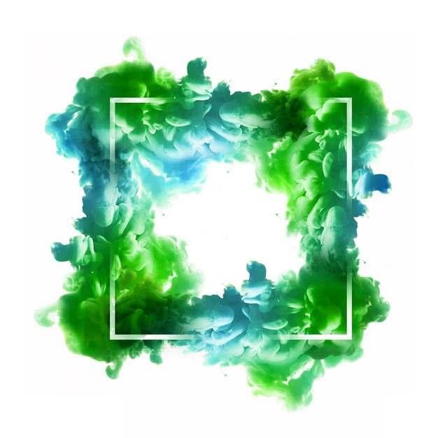 抽象绿色烟雾环绕的方形边框文本框信息框标题框554495png图片免抠素材