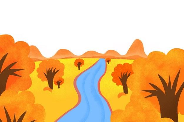 金秋时节小河两边自然风光风景png图片素材 生物自然-第1张