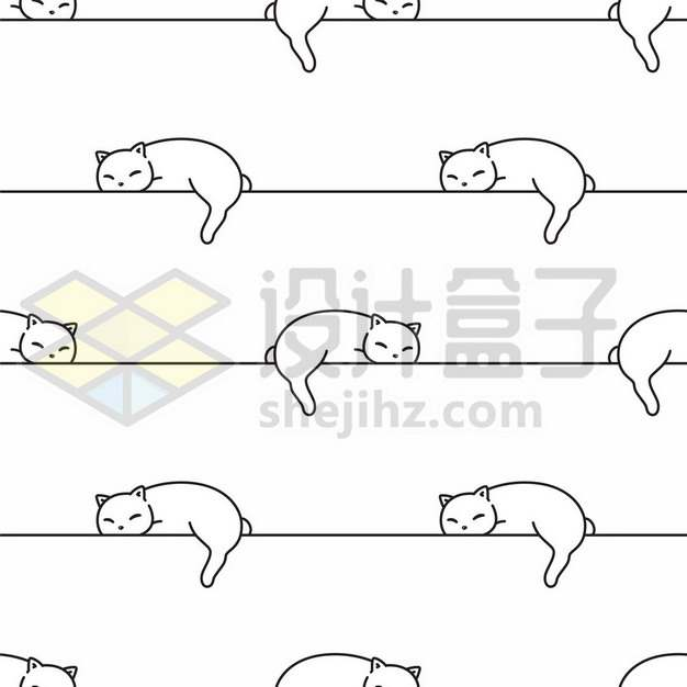 猫咪趴着线条分割线829409png矢量图片素材