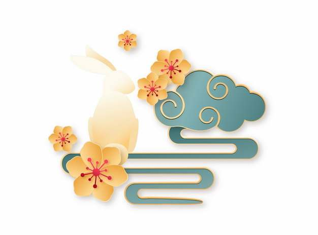 彩色剪纸中国风梅花和祥云图案232045png矢量图片素材