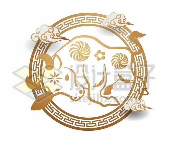 传统中国风牛年图案装饰661231png矢量图片素材