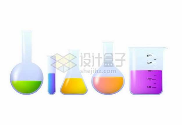 烧瓶试管锥形瓶和烧杯彩色化学实验仪器384721png矢量图片素材