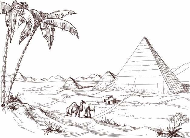枣椰树和埃及金字塔沙漠风景速写插画463852png免抠图片素材