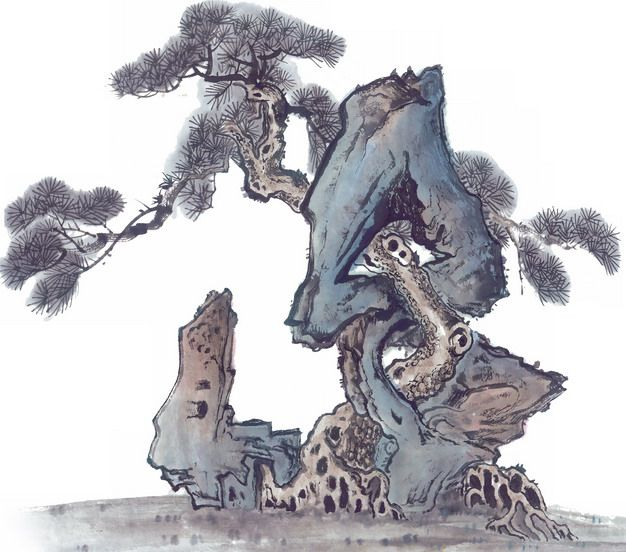 彩色水墨画中国传统国画怪石和松树858226png免抠图片素材