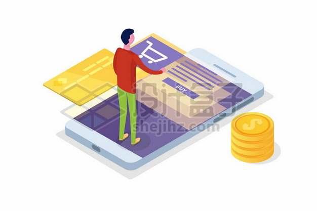 2.5D风格年轻人在手机上购物信用卡金币868625png矢量图片素材