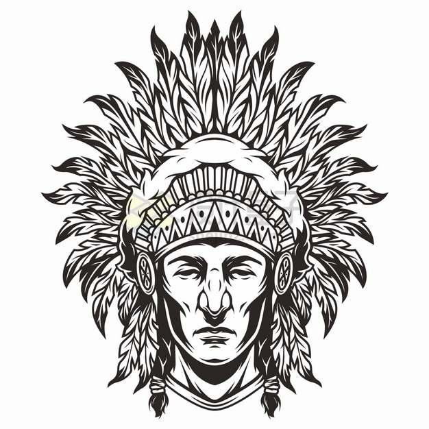 印第安酋长画像头像黑色线条手绘插画png图片素材